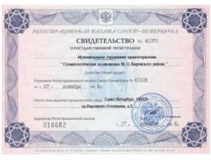 Свидетельство о государственной регистрации.